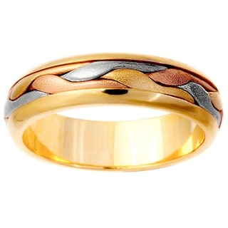 14k Tri-color Gold Men's Comfort Fit Handmade Wedding Band