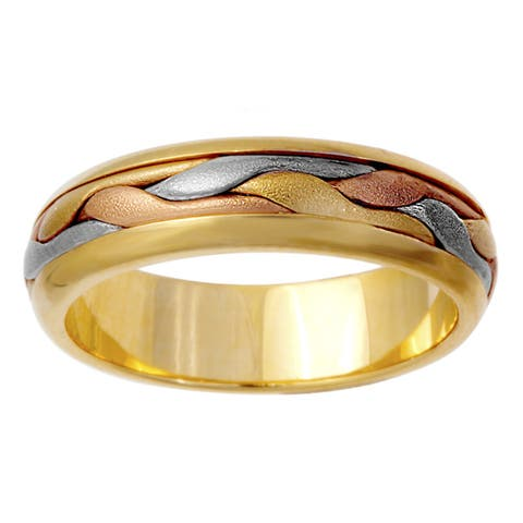 14K Tri Color Gold Women's Comfort-Fit Handmade Wedding Band