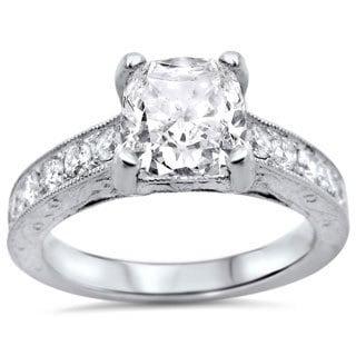 Noori 18k White Gold 1 1/2ctw Cushion-cut White Diamond Clarity Enhanced Engagement Ring