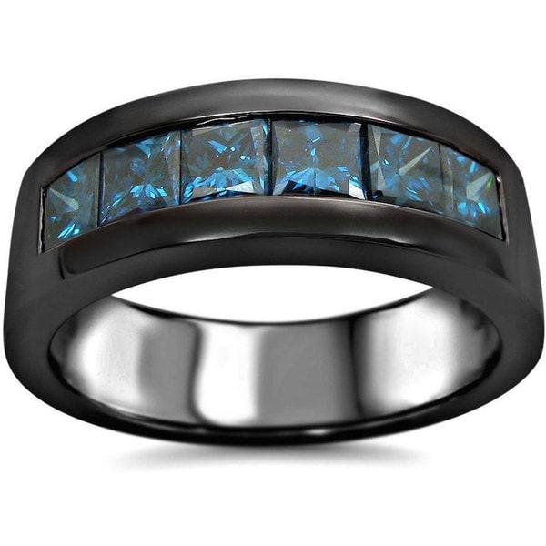 Noori 14k Black Gold 1 3 5ct TDW Blue Diamond Mens Wedding Band UGL