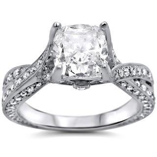 Noori 14k White Gold 1 4/5ct Cushion-cut White Diamond Clarity Enhanced Engagement Ring