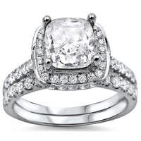 Noori 18k White Gold 2ct Cushion-cut White Diamond Clarity Enhanced Engagement Ring Bridal Set