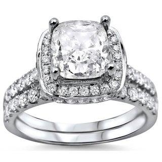 Noori 18k White Gold 2ct Cushion-cut White Diamond Clarity Enhanced Engagement Ring Bridal Set