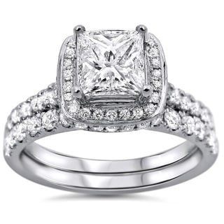 Noori 18k White Gold 1 3/5ct TDW Princess-cut Diamond Clarity-enhanced Bridal Set