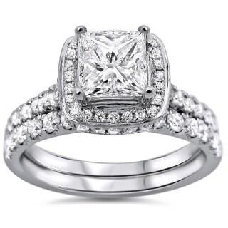 Noori 18k White Gold 1 3/5ct TDW Princess-cut Diamond Clarity-enhanced Bridal Set