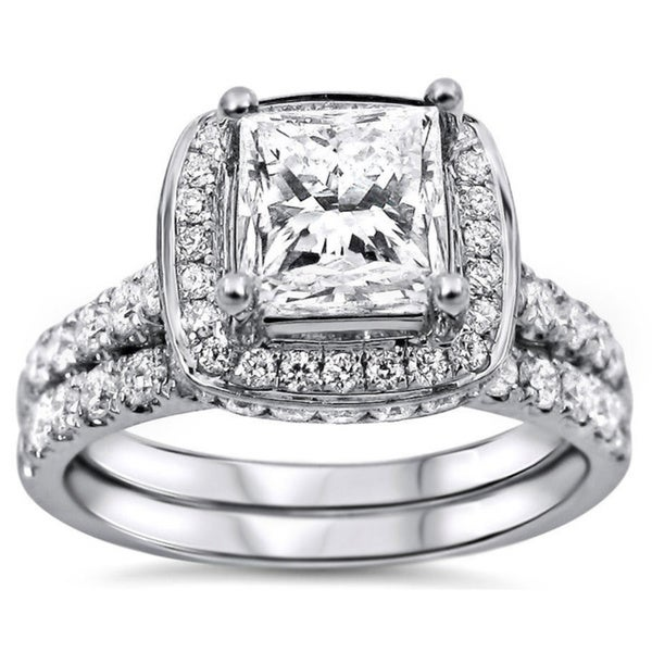 Noori 18k White Gold 2ct TDW Princess-cut Diamond Clarity-enhanced Bridal Set