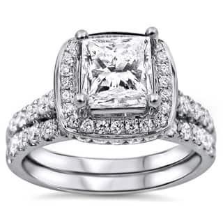 Noori 18k White Gold 2ct TDW Princess-cut Diamond Clarity-enhanced Bridal Set https://ak1.ostkcdn.com/images/products/9442639/P16627862.jpg?impolicy=medium