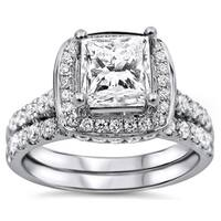 Noori 18k White Gold 2ct TDW Princess-cut Diamond Clarity-enhanced Bridal Set