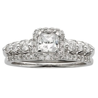 Sofia 14k White Gold 7/8ct TDW Certified Princess-cut Diamond Bridal Set (HI, I1-I2)
