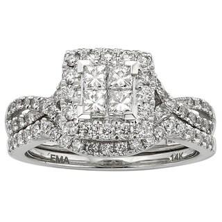 Sofia 14k White Gold IGL Certified 7/8ct TDW Princess-cut Diamond Ring