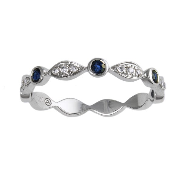 10k White Gold Blue Sapphire and 1/14ct TDW Diamond Stackable Band Ring (H-I, I2-I3)