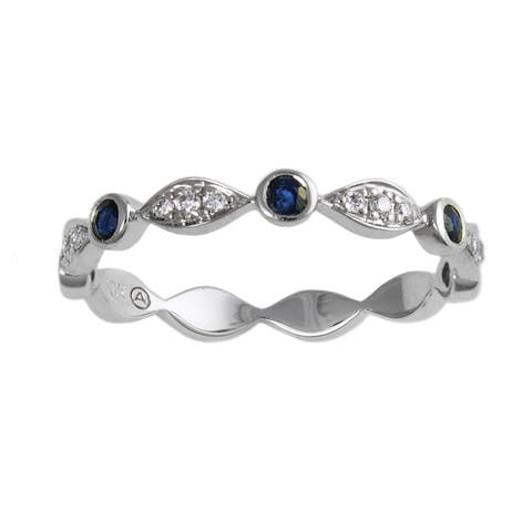 10k White Gold Diamond and Blue Sapphire Band Ring by Beverly Hills Charm
