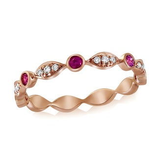 10k Rose Gold Pink Sapphire and 1/14ct TDW Diamond Stackable Band Ring (H-I, I2-I3)