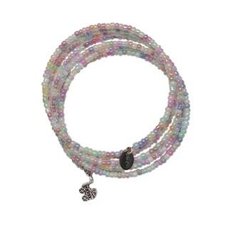 Happy Light Pastel Rainbow Expandable Wraparound 7 Day Baby Carriage Charm Bracelet