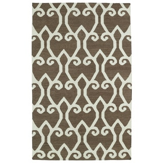 Hollywood Brown Scroll Flatweave Rug (2' x 3')
