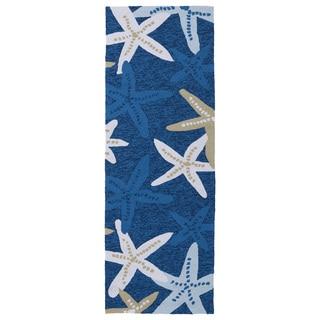 Indoor/ outdoor Luau Blue Starfish Rug (2' x 6')