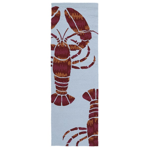 Indoor Outdoor Luau Blue Lobster Rug 2 X 6 Free Shipping Today