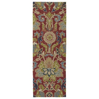 Indoor/ outdoor Fiesta Red Flower Rug (2' x 6')