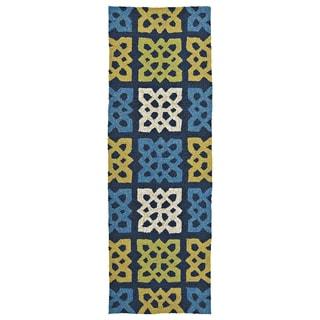 Indoor/ outdoor Fiesta Panel Blue Rug (2' x 6')
