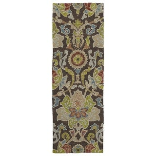 Indoor/ outdoor Fiesta Brown Flower Rug (2' x 6')