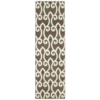 Hollywood Brown Scroll Flatweave Rug (2'6 x 8')