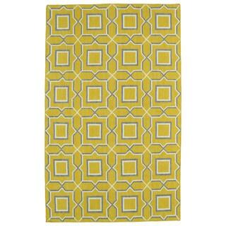 Hollywood Yellow Geo Flatweave Rug (2' x 3')