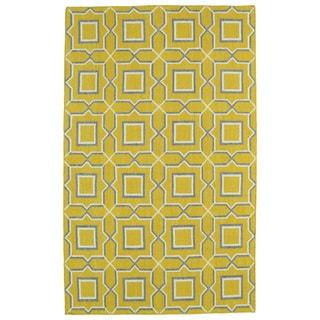 Hollywood Yellow Geo Flatweave Rug (9' x 12')