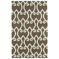 Hollywood Brown Scroll Flatweave Rug - 9' x 12'