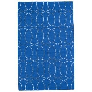 Hollywood Blue Stitch Flatweave Rug (2' x 3')