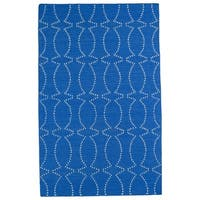 Hollywood Blue Stitch Flatweave Rug - 2' x 3'