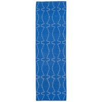 "Hollywood Blue Stitch Flatweave Rug - 2'6"" x 8'"