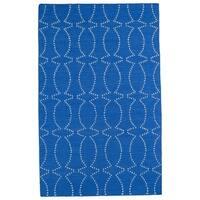 Hollywood Blue Stitch Flatweave Rug - 5' x 8'