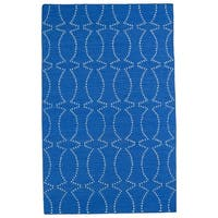 Hollywood Blue Stitch Flatweave Rug (9' x 12')