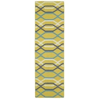 "Hollywood Flatweave Yellow Stripes Rug (2'6 x 8') - 2'6"" x 8'"