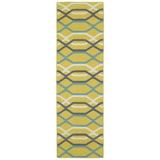 Hollywood Flatweave Yellow Stripes Rug (2'6 x 8')