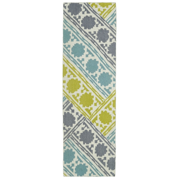 Hollywood Flatweave Turquoise Patchwork Rug (2'6 x 8')