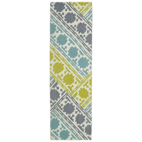 "Hollywood Flatweave Turquoise Patchwork Rug - 2'6"" x 8'"