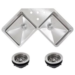 Ticor TR1400BG-REG 45-inch 16-gauge Stainless Steel Undermount Double Bowl Corner Butterfly Kitchen Sink