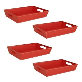 Wald Imports Red Paperboard Tray (Set of 4)