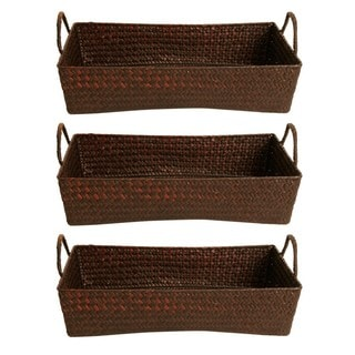 Wald Imports Espresso Seagrass-reed Baskets (Set of 3)