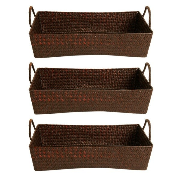 Shop Wald Imports Espresso Seagrass-reed Baskets (Set Of 3