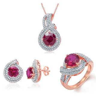 Divina Rose Gold over Brass Created Red Ruby/ White Diamond Accent Jewelry Set