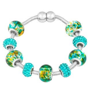 La Preciosa Silvertone Green/ Blue Crystal and Glass Beads Magnetic Bracelet