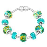 La Preciosa Silvertone Green/ Blue Crystal and Glass Beads Magnetic Bracelet