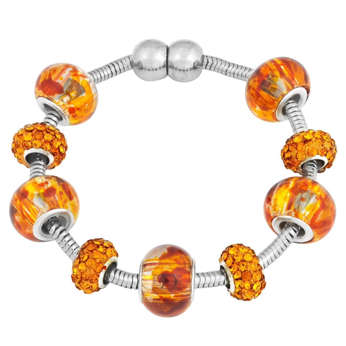 La Preciosa Silvertone Orange Crystal and Glass Beads Mag...