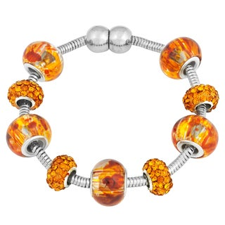 La Preciosa Silvertone Orange Crystal and Glass Beads Magnetic Bracelet
