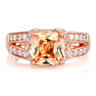 Rose Gold over Silver Peach Cubic Zirconia Cushion-cut Engagement Ring