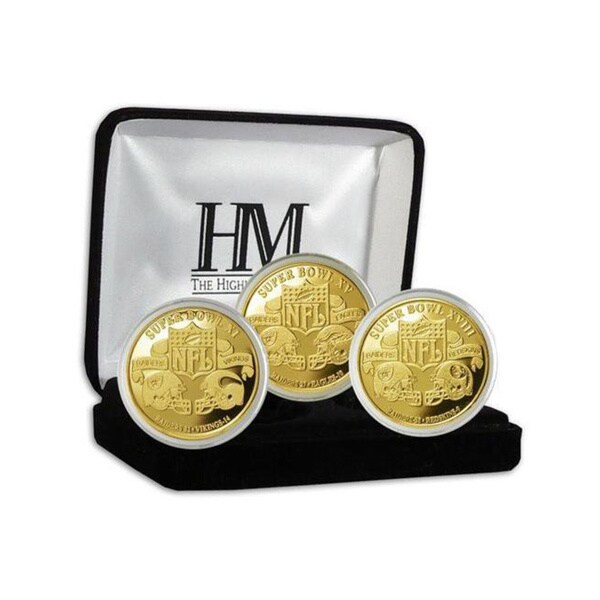 NFL Oakland Raiders 3-time Super Bowl Champions Gold Game Coin Set