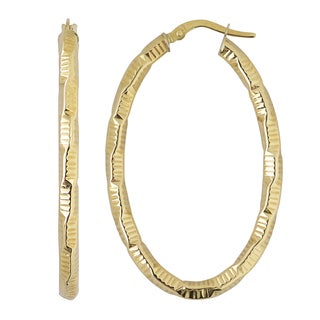 Fremada 10k Yellow Gold Textured Elongated Hoop Earrings