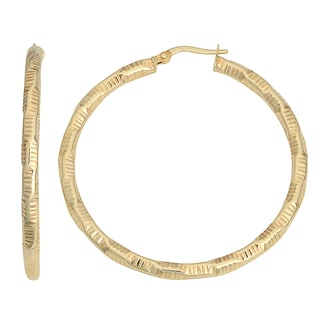 Fremada 10k Yellow Gold 3x30-mm Textured Bold Hoop Earrings